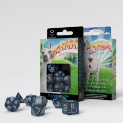 Llama Dice Set: Shimmering - Glittering Dark Blue & White Set of 7