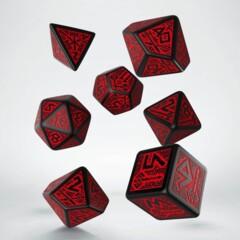 Dwarven Dice 7-Die Set - Black/Red
