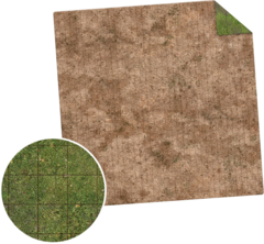 Monster Game Mat: 3x3 - Broken Grassland/Desert Scrubland Adventure Grid