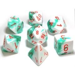 Gemini Mint-Green/Orange 7-Die Set Lab Dice