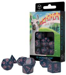 Llama Dice Set: Shimmering - Glittering Dark Blue & Pink Set of 7