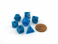 Mini Dice Glow Blue W/black 7-Die Set