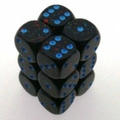 12 Blue Stars Speckled 16mm D6 Dice Block Chx 25738