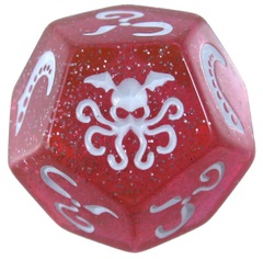 Cthulhu Dice - Sparkly Pink w/ White