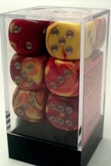 12 Gemini Red-Yellow w/ Silver 16mm d6 [CHX 26650]