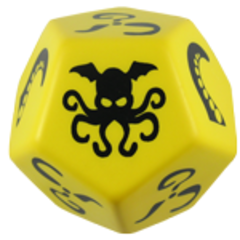 Giant Cthulhu Dice - Yellow w/ Black Ink