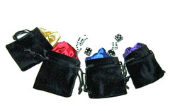 Satin Lined Black Velvet Dice Bag 5x8