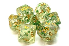 Old School RPG Dice Set Particles: Metallic Green with Gold