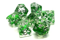 Old School RPG Dice Set Infused: Green Butterfly with Silver
