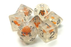 Old School RPG Dice Set Infused: Iridescent Orange Flower