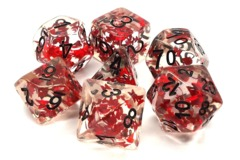 Old School RPG Dice Set Infused: Red Butterfly with Black