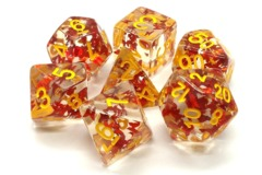 Old School RPG Dice Set Infused: Orange Butterfly with Yellow