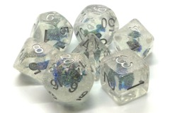 Old School RPG Dice Set Infused: Iridescent Blue Flower