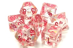 Old School RPG Dice Set Infused: Mixed Stars with Pink