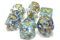 Old School RPG Dice Set Particles: Metallic Blue with Gold