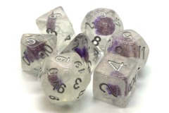 Old School RPG Dice Set Infused: Iridescent Purple Flower