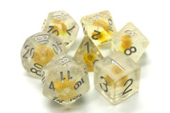Old School RPG Dice Set Infused: Iridescent Yellow Flower