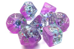 Old School RPG Dice Set Infused: Mixed Stars with Purple and Silver