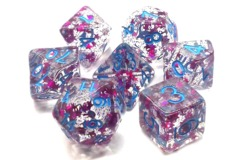 Old School RPG Dice Set Infused: Red Stars with Blue