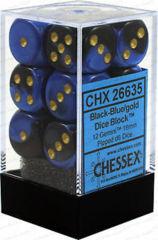 12 Black-Blue w/gold Gemini 16mm D6 - CHX26635