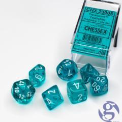 23085 translucent teal 7 set dice