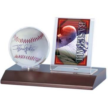 Baseball & Card Dark Wood Holder