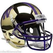 University of Washington UW Huskies Gold Chrome Mirror Mini Helmet unsigned
