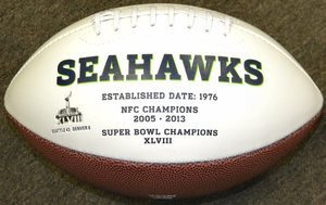 Seattle Seahawks White Panel Football w/Embroidered Logo Unsigned