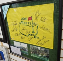 Masters Champions Signed Pin Flag with 14 Champions Autos PSA DNA Framed w/Tiger Woods, Jack Nicklaus, Arnold Palmer and more!
