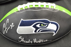 Chris Carson Signed Seahawks Ltd Edition Black Football w/ Steady Hustlinn' Inscription w/ JSA COA