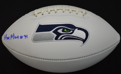 Malik McDowell Signed Seahawks White Panel Logo Football