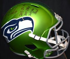 Sheldon Richardson Signed Blaze Green Seahawks Full Size Helmet w/3 Inscriptions