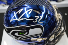 Chris Carson Signed Seahawks Blue Chrome Mini Helmet w/ JSA COA
