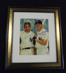 Mickey Mantle & Yogi Berra Autograph 8x10 PSA DNA