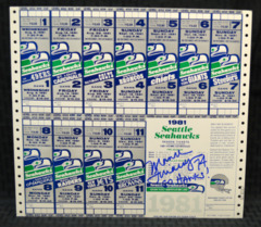 Manu Tuiasosopo Signed Uncut Sheet 1981 Tickets w/ Go Hawks Inscription