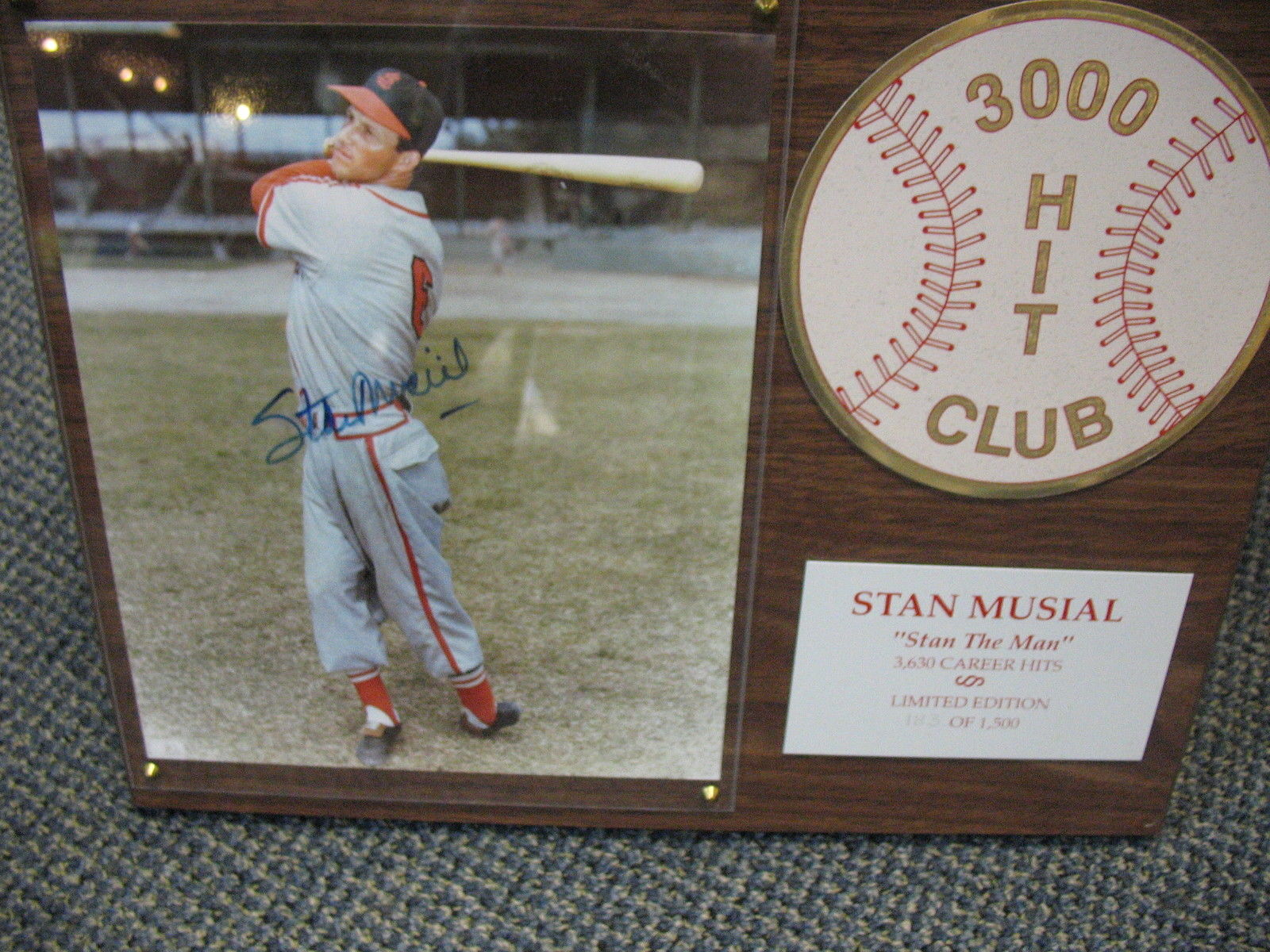 Stan Musial Autographed 8X10 183/500 Wood Plaque