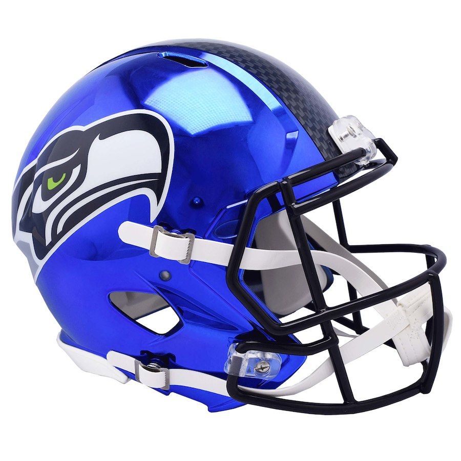 Seattle Seahawks Blue Chrome Mini Helmet Riddell - unsigned