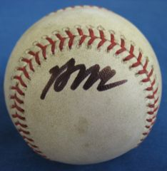 Brian McCann Signed MLB Game Used Baseball Black Autographed BB 101