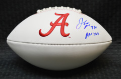 Jarran Reed Alabama White Panel Logo Football w/insc Roll Tide JSA