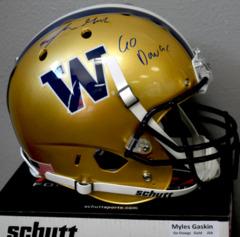Myles Gaskin Signed UW Gold Full Size Helmet w/ Go Dawgs Inscription JSA COA