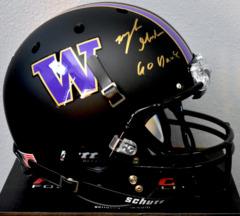 Myles Gaskin Signed UW Matte Black Full Size Helmet w/ Go Dawgs Inscription JSA COA