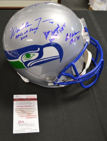 Seahawks Ring of Honor Autographed x8 Replica Full Sized Helmet JSA