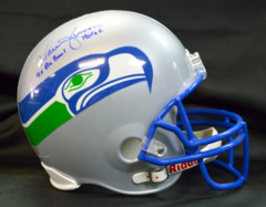 Warren Moon Signed Full Size Seahawks Helmet w/ HOF and 9x Pro Bowl Inscriptions