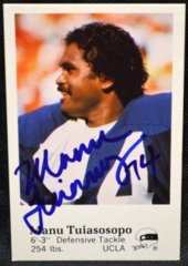 Manu Tuiasosopo Seattle Seahawks Signed 1982 Police Set Card