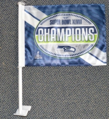 Derrick Coleman Autographed Seahawks SB XLVIII Champs Car Flag