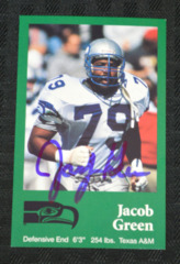Jacob Green Signed 1990 Seahawks Police Card