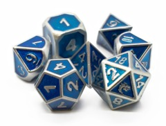 Old School RPG Metal Dice Set: Elven Forged - Metallic Blue