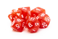 Old School RPG Dice Set: Pearl Drop - Red