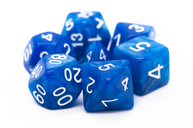 Old School RPG Dice Set: Pearl Drop - Shimmer Blue
