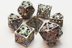 Old School 7 Piece DnD RPG Metal Dice Set: Hollow Dragon Dice - Spectral w/ Gold